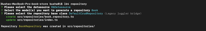 Adding a Book Repository for Book Store App Built With LoopBack