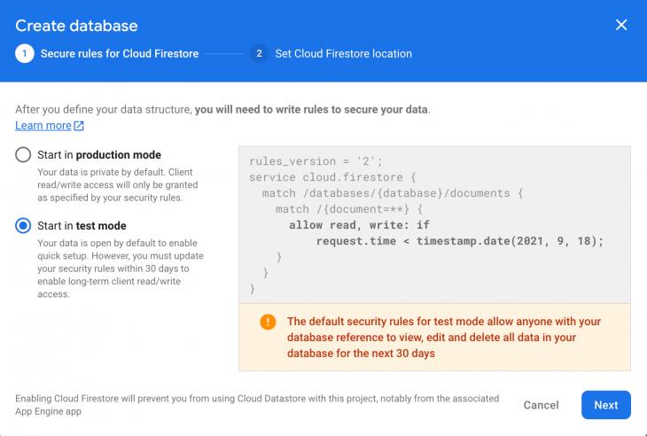 Create Database Options in Firebase
