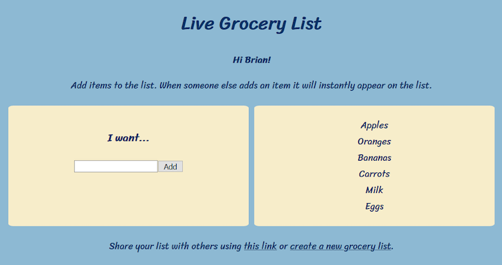 Our Grocery List Web App