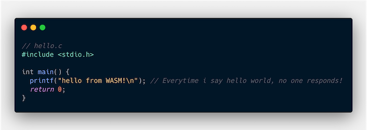 Hello World Example In C