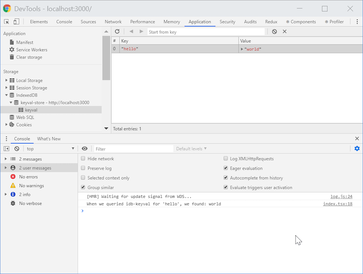 Hello World App Using IDB-Keyval