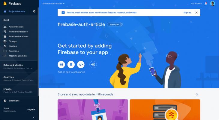 Firebase Console Dashboard
