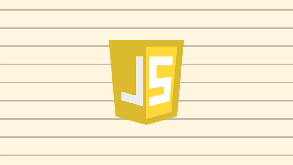 The JavaScript logo against a lined background.