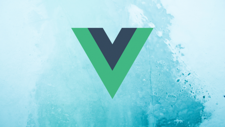The Vue logo in front of a blue background.