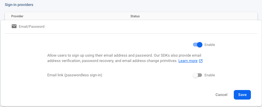 enable email sign in provider