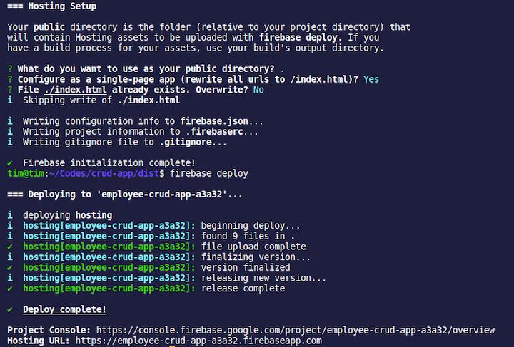 Firebase Hosting Output