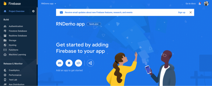 Welcomed to Firebase main page