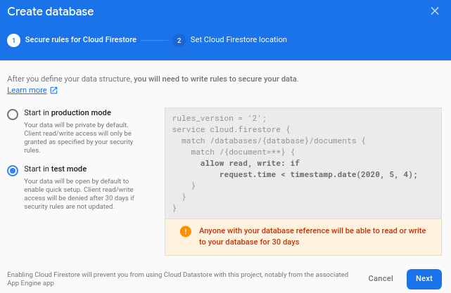 Configuring Security Rules in Firebase