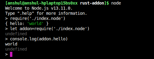 Using the Addon in Node