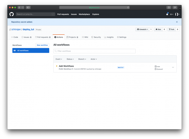 GitHub Actions Page