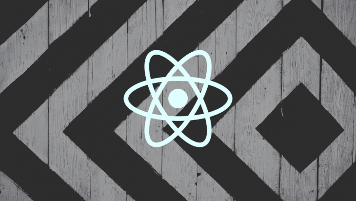 The React logo against a black and white background.