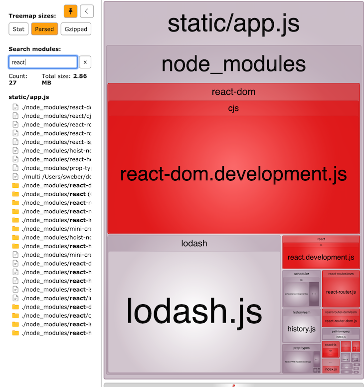Interactive View Of The Bundled React Code In Development Mode