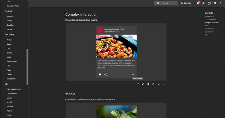 A screenshot of the Material UI.