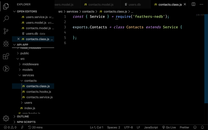 The code for our contact class in FeatherJS.
