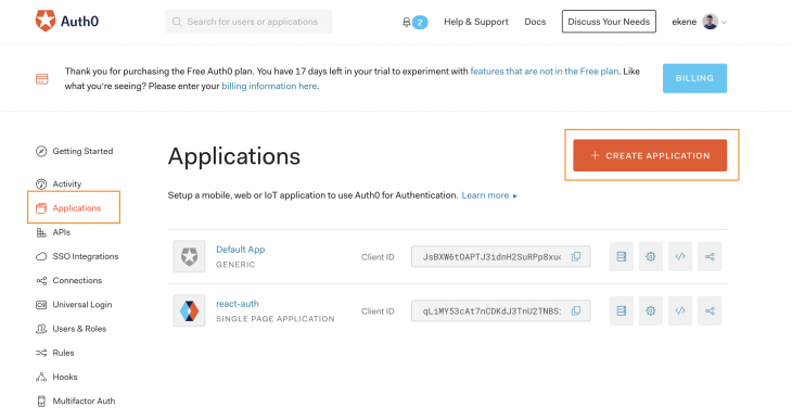 create a new application