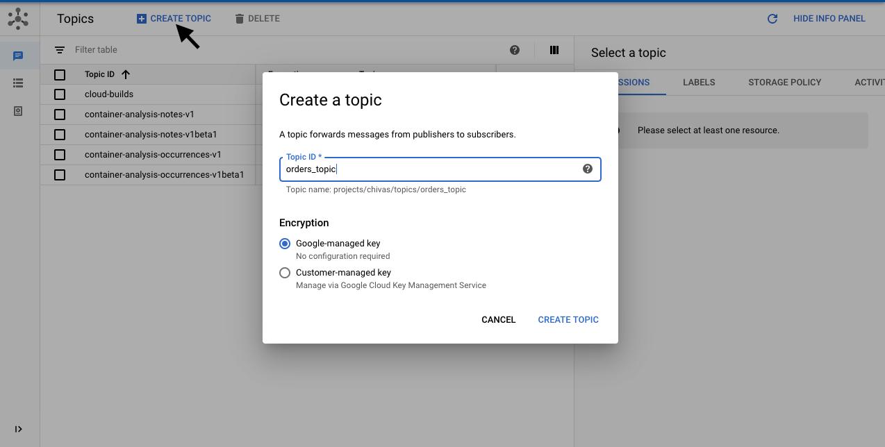 create orders topic
