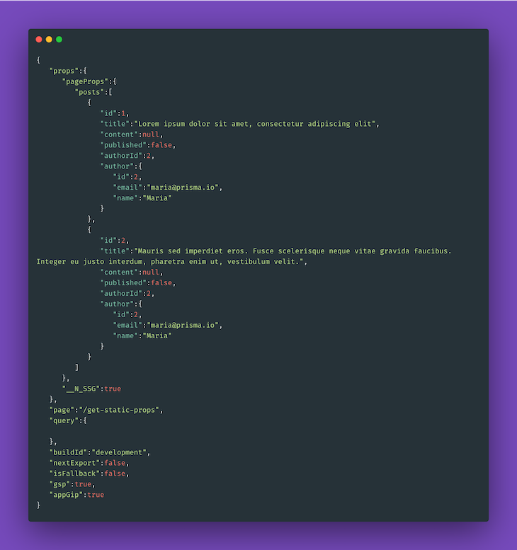 Our Generated JSON