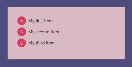 Ordered List With Greek Characters Styled With CSS Counters