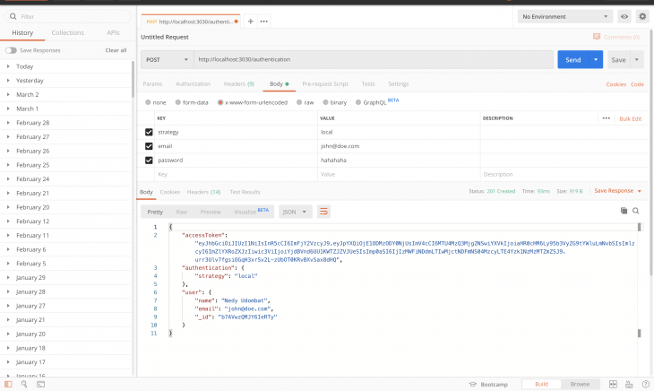 Post authentication using FeatherJS.