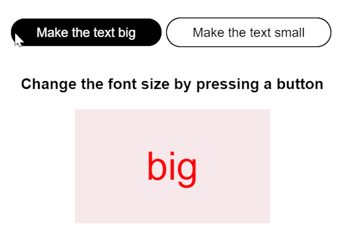 React Component Increase Text Size