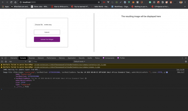 upload button in browser