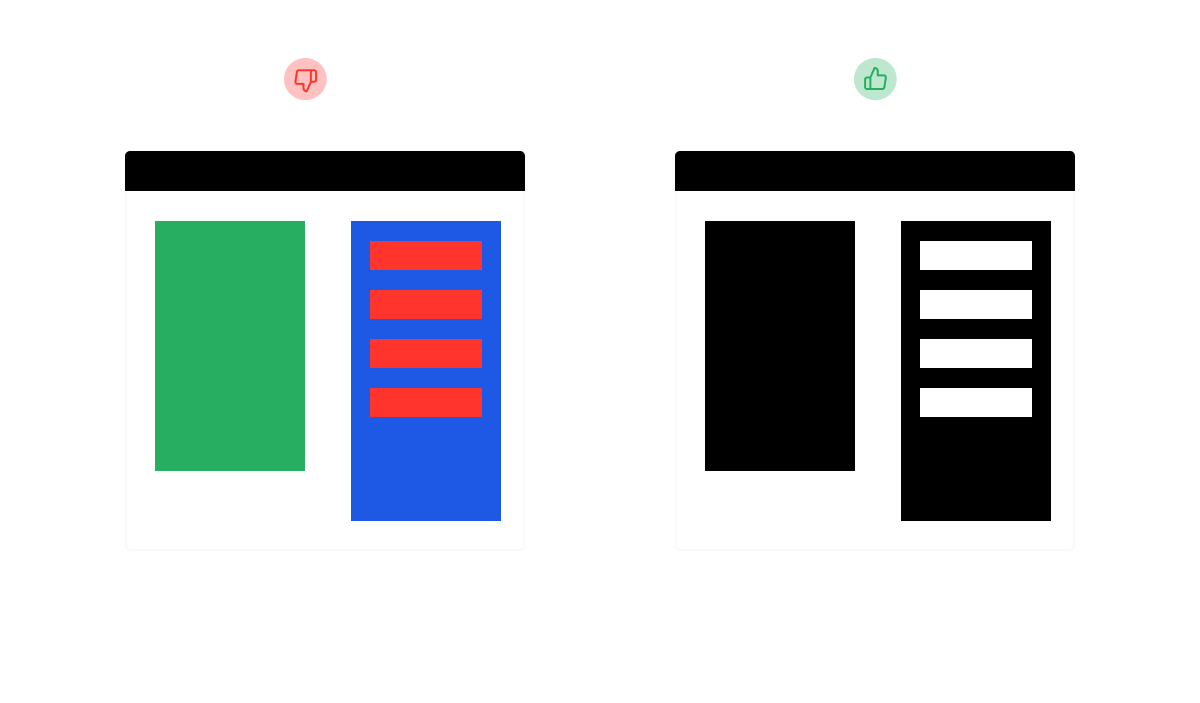 A brightly colored image set next to a simple, plain black image.