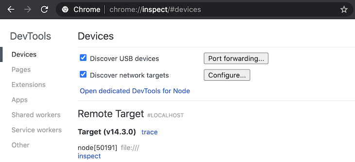 Running about:inspect In Chrome