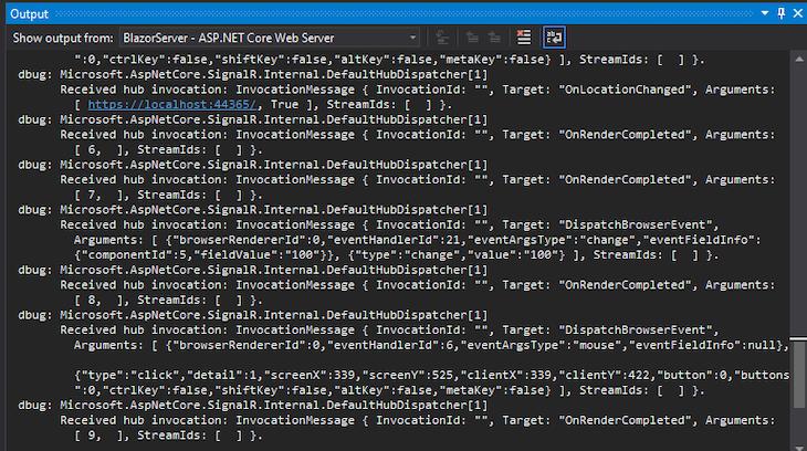 ASP.NET Server Output
