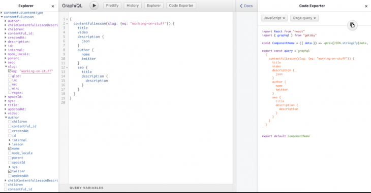 visualize the query in a code reporter