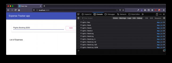 input in console log