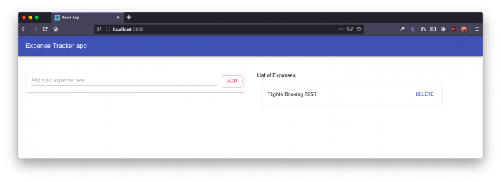 displayed list of expenses