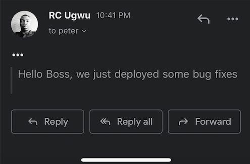 "deployed email saying ""Hello Boss, we just deployed some bug fixes"""