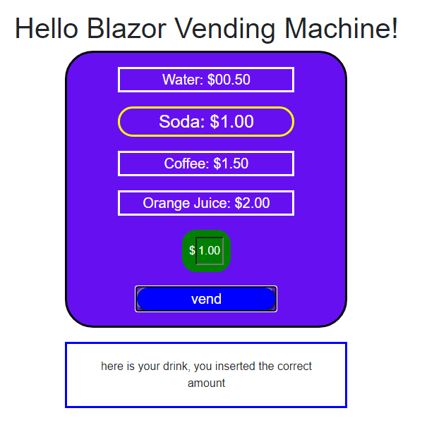 Preview Of Our Final Blazor Vending MachineApp