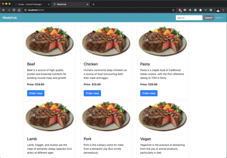 menu of meals with completed nav bar