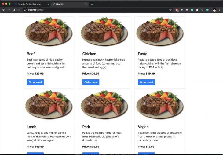 menu of various meals
