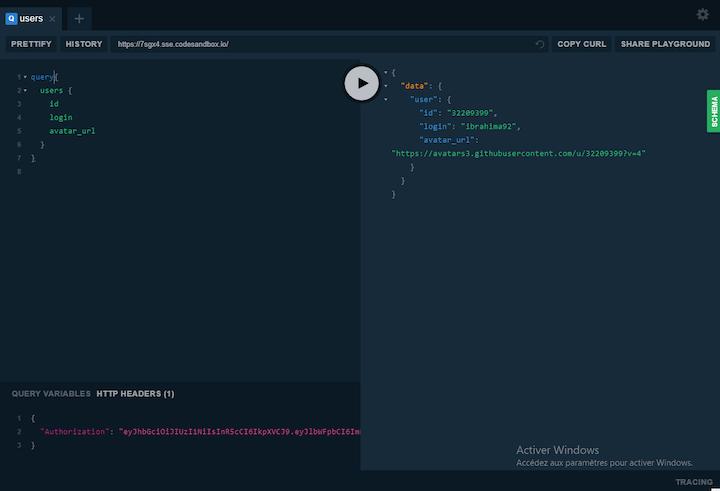 GraphQL Playground Send HTTP Headers