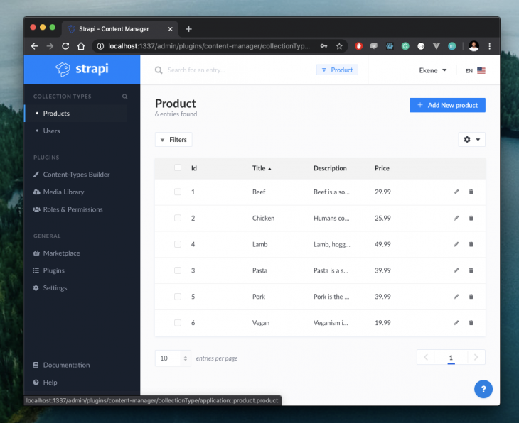 product entries in strapi page