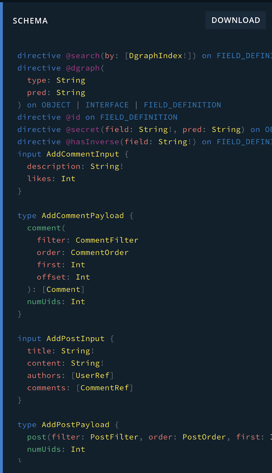 A schema generated in Dgraph.