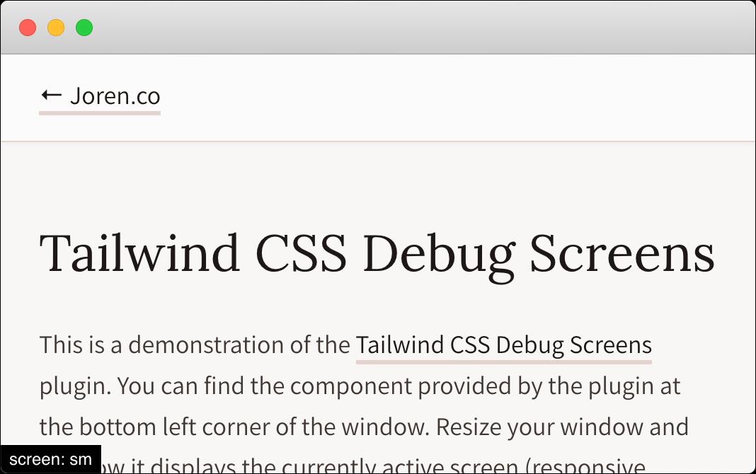 Tailwind CSS debug screen.