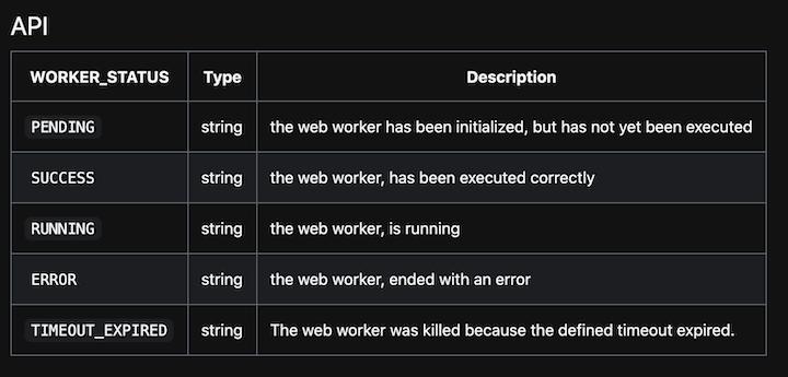 webWorker UI Status