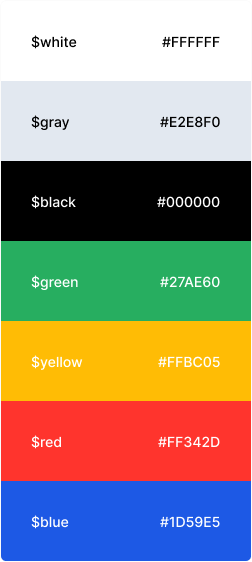Some design tokens displaying colors including white, gray, black, green, yellow, red, and blue.