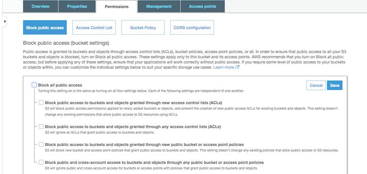AWS Services Permissions Tab