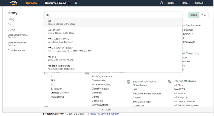 AWS Services Search Page