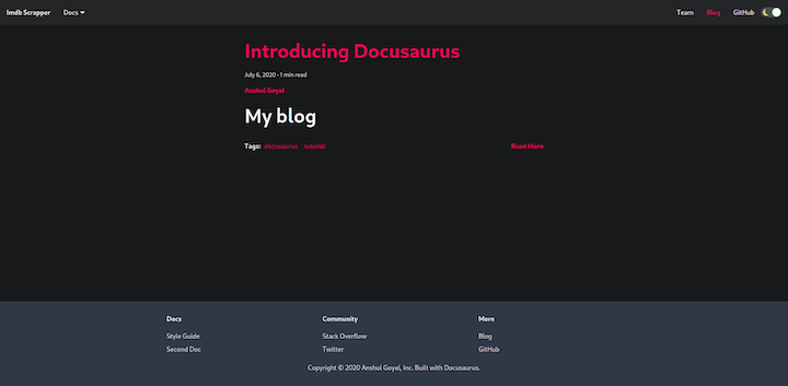 Docusaurus Blog Summary