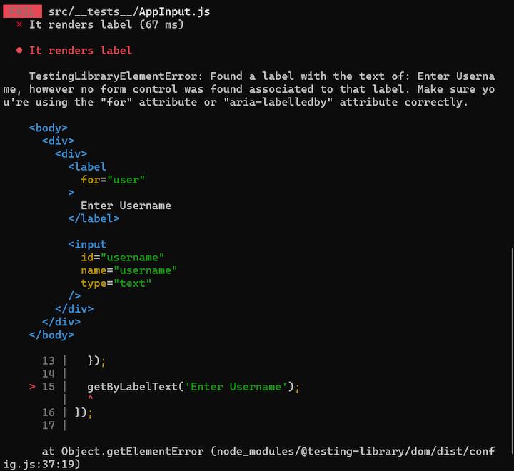 Vue Testing Library — Error Message