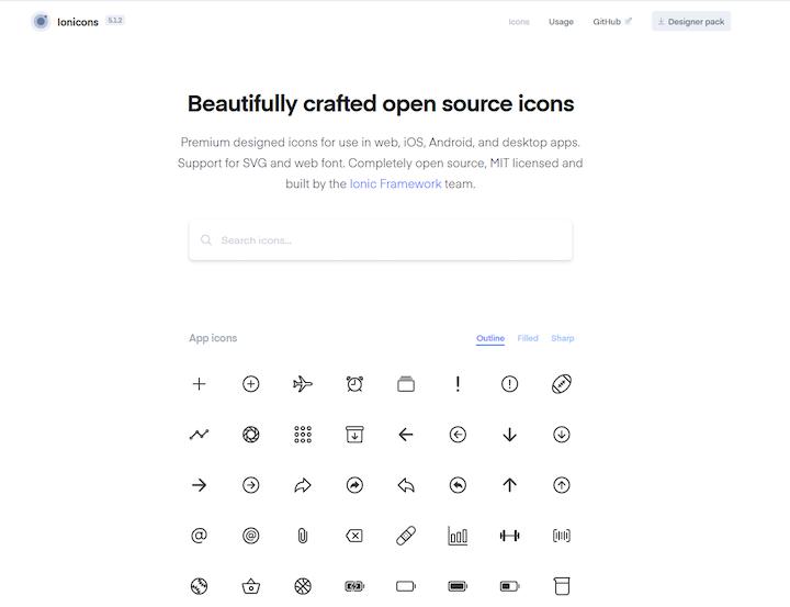 Ionicons Homepage