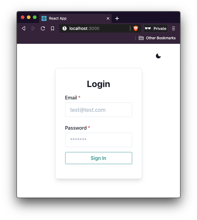 Login form page in light mode