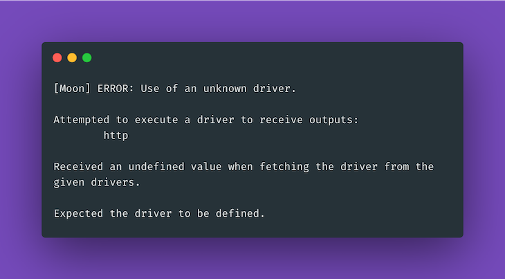 Moon Driver Error Message