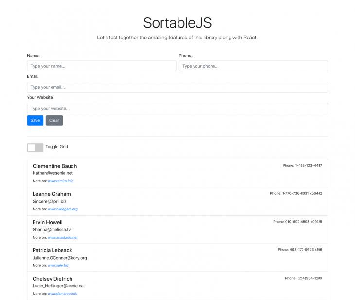 The Sortable.js UI dispaying users.