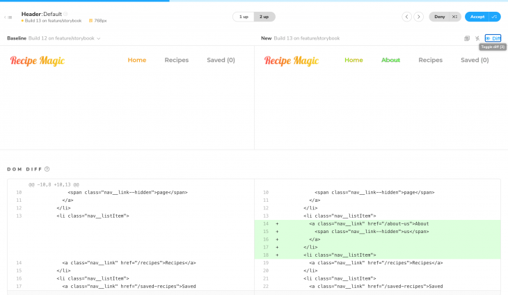 Reviewing individual UI components, with changes marked with color on the right-hand side preview